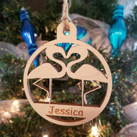 Wood Flamingos Ornament/*1 for $10/2 for $16/3 for $20-