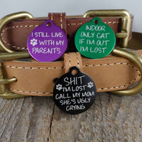 *3 Tags for $12-/EXTRA SMALL Aluminum Circle Funny / LASER Engraved