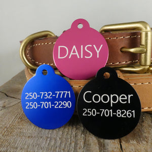 *3 Tags for $12-/LARGE Aluminum Circle / LASER Engraved