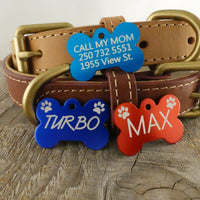 *3 Tags for $12-/SMALL Aluminum Bone with Paws / LASER Engraved