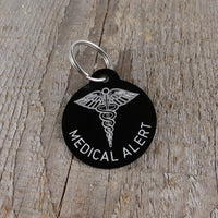 *3 Tags for $12-/LARGE Aluminum Medical Alert Circle / LASER Engraved