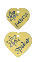 Brass Heart Tag with Flower