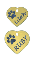 Brass Heart Tag with Paw