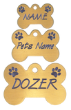 Brass Bone Tag with Paws