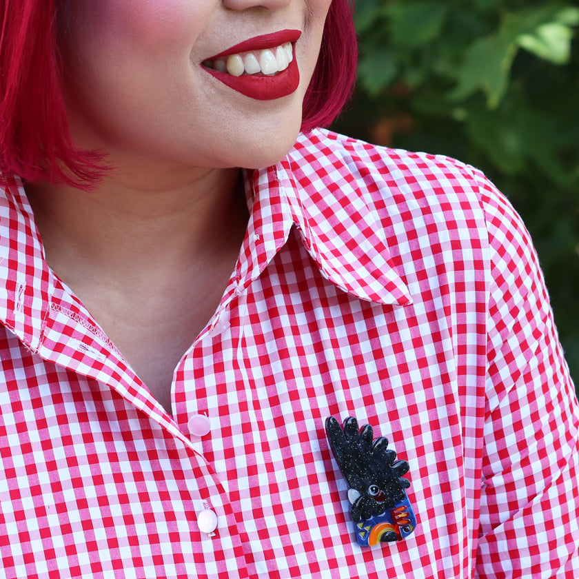 The Rare Red Tailed Cockatoo Brooch