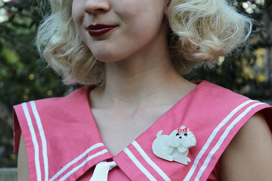 Gracefully Vintage with Erstwilder Molly the Maltese Brooch