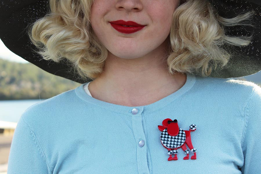 Gracefully Vintage wears Madame Amore Poodle Brooch