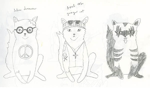 Jess Racklyeft Erstwilder Design Rock Cats Sketches