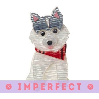 Oreo Pomsky Dog Brooch (IMPERFECT)