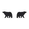 Bear Textured Resin Stud Earrings - Black