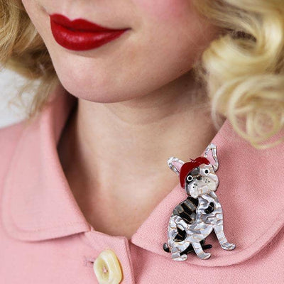 Claude the Chic Dog Brooch