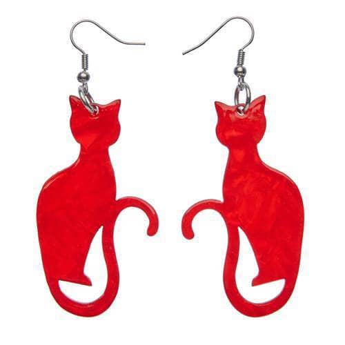 Erstwilder - Crimson Kitty Earrings - 1