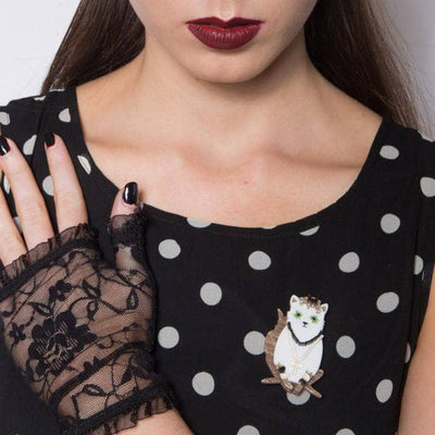 Papa Don't Preach Cat Brooch