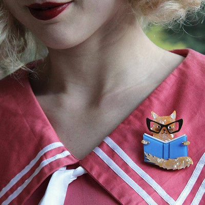 Erstwilder - Puss in Books Brooch (IMPERFECT) - 2