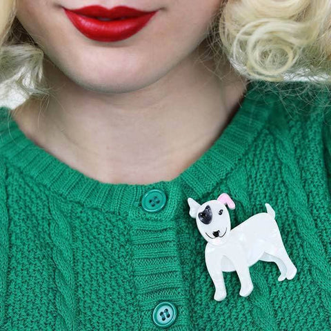 Willie the White Dog Brooch
