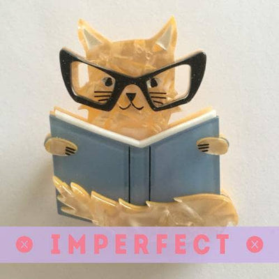 Puss in Books Brooch (IMPERFECT)