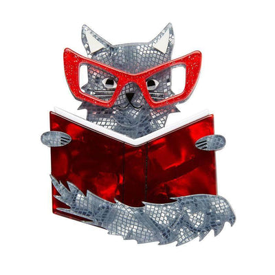 Puss in Books Brooch