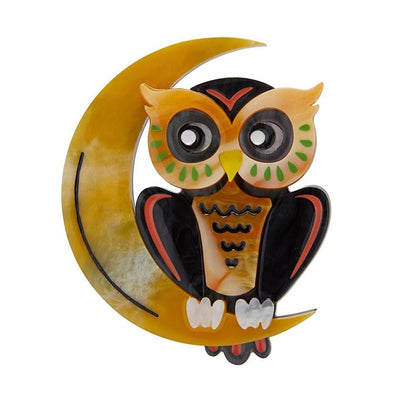 A Moon with View Owl Brooch