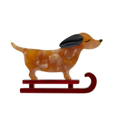 Erstwilder Little Red the Puppy Sled Brooch BH6944-9010
