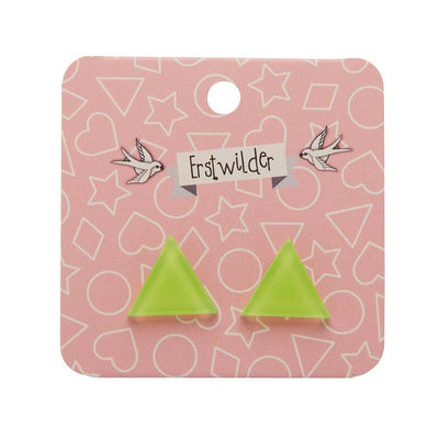 Triangle Bubble Resin Stud Earrings - Lime