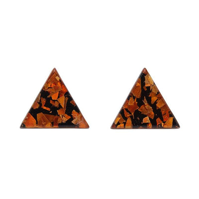 Triangle Chunky Glitter Resin Stud Earrings - Orange