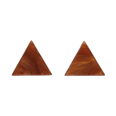 Triangle Textured Resin Stud Earrings - Dark Orange