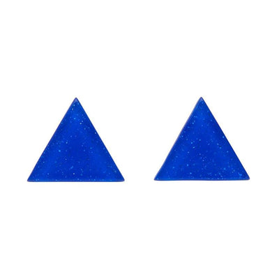 Triangle Glitter Resin Stud Earrings - Dark Blue