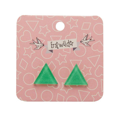 Erstwilder Essentials Triangle Glitter Resin Stud Earrings - Green EE0001-SG4000