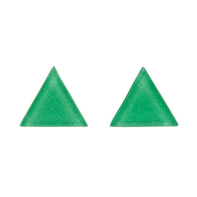 Triangle Glitter Resin Stud Earrings - Green