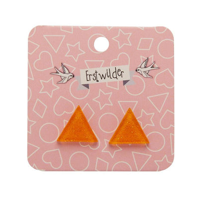 Triangle Glitter Resin Stud Earrings - Orange