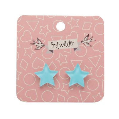 Star Bubble Resin Stud Earrings - Mint