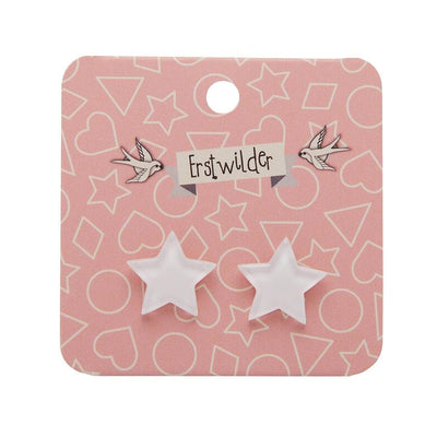 Star Bubble Resin Stud Earrings - White