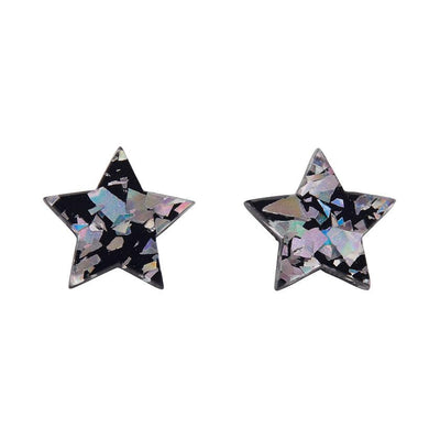 Star Chunky Glitter Resin Stud Earrings - Holographic Silver