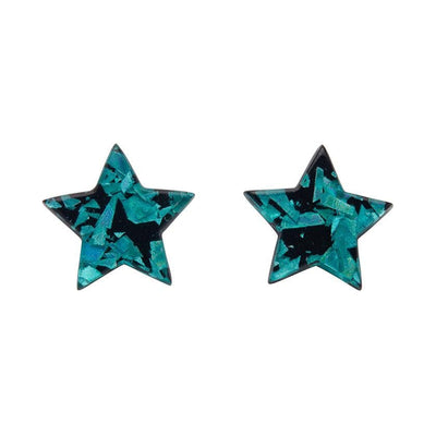 Star Chunky Glitter Resin Stud Earrings - Teal