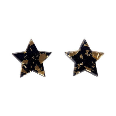 Star Chunky Glitter Resin Stud Earrings - Yellow Gold