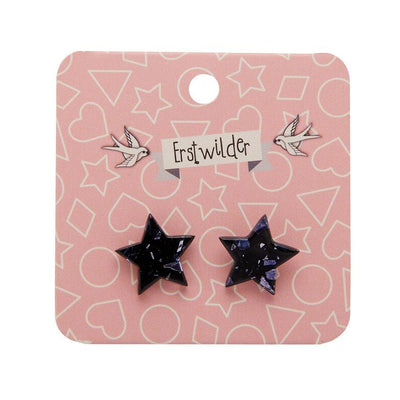 Star Chunky Glitter Resin Stud Earrings - Black