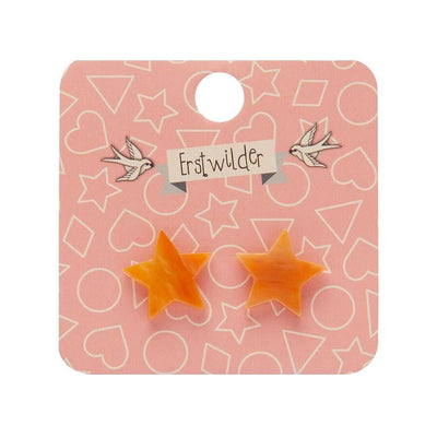 Star Marble Resin Stud Earrings - Orange