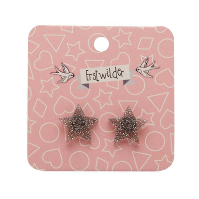 Star Glitter Resin Stud Earrings - Silver