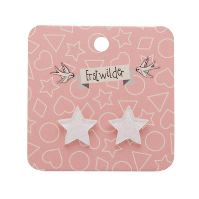 Erstwilder Essentials Star Glitter Resin Stud Earrings - White EE0002-SG8000