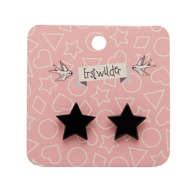 Star Solid Resin Stud Earrings - Black