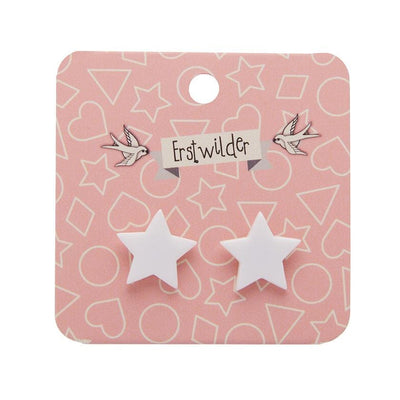 Star Solid Resin Stud Earrings - White