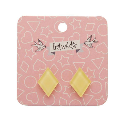 Diamond Bubble Resin Stud Earrings - Light Yellow