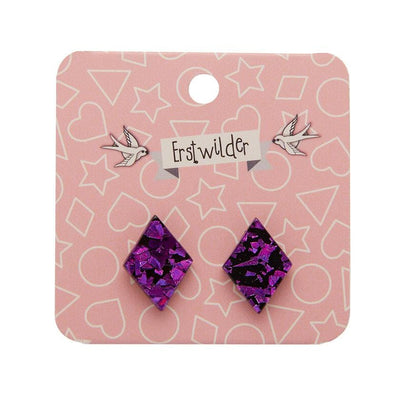 Diamond Chunky Glitter Resin Stud Earrings - Fuchsia