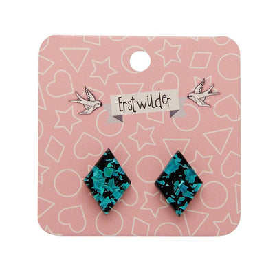 Erstwilder Essentials Diamond Chunky Glitter Resin Stud Earrings - Teal EE0003-CG4400