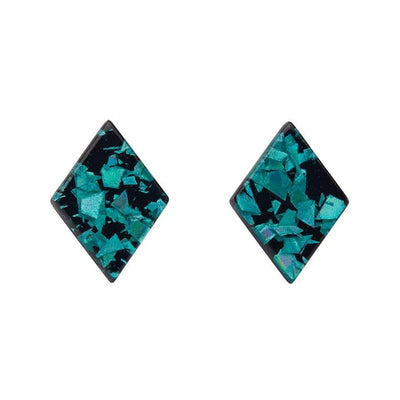Diamond Chunky Glitter Resin Stud Earrings - Teal