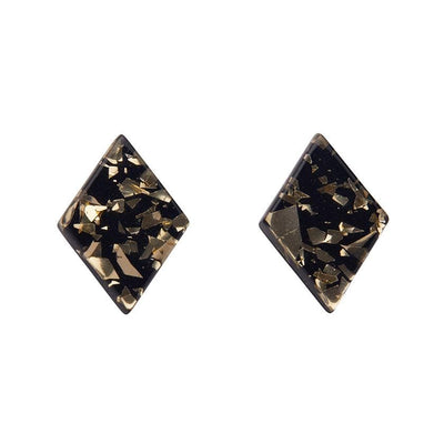 Diamond Chunky Glitter Resin Stud Earrings - Gold