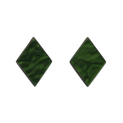 Diamond Textured Resin Stud Earrings - Emerald