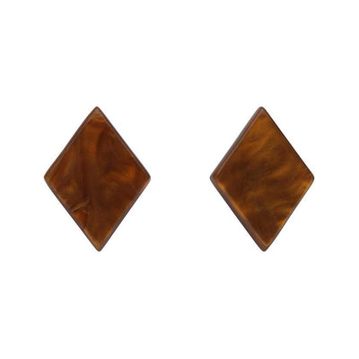 Diamond Textured Resin Stud Earrings - Dark Orange