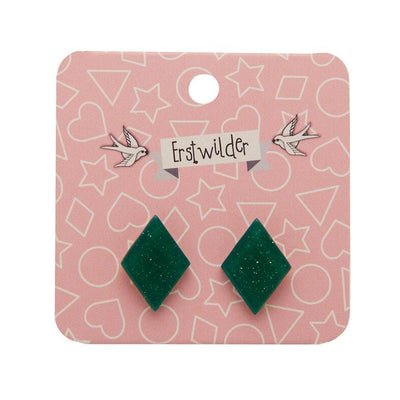 Diamond Glitter Resin Stud Earrings - Emerald