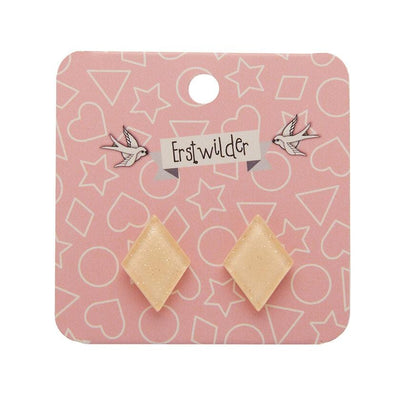 Diamond Glitter Resin Stud Earrings - Cream